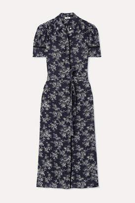Jason Wu Belted Floral-print Silk Crepe De Chine Midi Dress - Navy