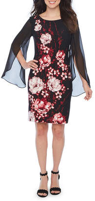 Connected Apparel Long Sheer Split Sleeve Floral Sheath Dress