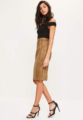 Missguided Faux Suede Stitch Detail Midi Skirt