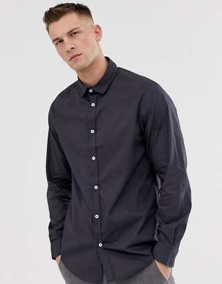 Process Black Plain Poplin Slim Fit Shirt