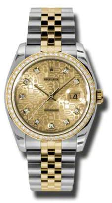 Rolex Datejust Steel and Yellow Gold Champagne Jubilee Diamond Dial 36mm Watch