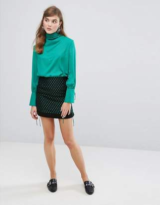 Sister Jane Wrap Front Mini Skirt In Embroidered Star