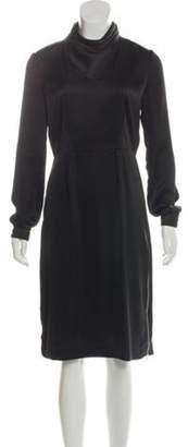 Band Of Outsiders Satin Long Sleeve Dress Black Satin Long Sleeve Dress