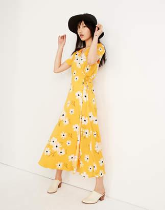 Madewell Puff-Sleeve Wrap Midi Dress in Ikat Floral