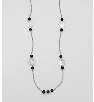 Erica Lyons® Black and Silvertone Long and Lean Necklace