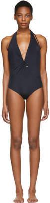 Versace Underwear Black Deep V-Neck One-Piece Swimsuit