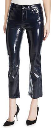 RtA Kiki Patent Leather Flare-Leg Cropped Pants