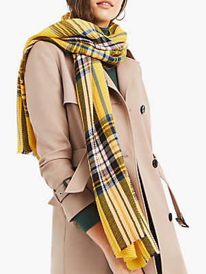 Oasis Crinkle Check Scarf, Yellow