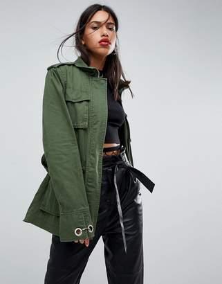 Asos DESIGN double wrap belted khaki jacket