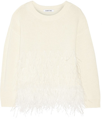 Elizabeth and James Feather-trimmed cotton-blend sweater $485 thestylecure.com