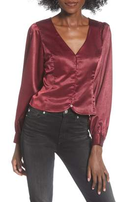 ALL IN FAVOR Button Up Crepe Satin Blouse