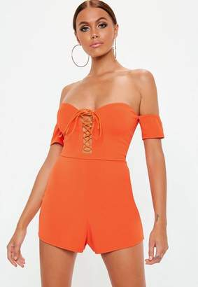Missguided Orange Lace Up Bardot Playsuit