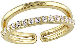 QVC 0.65cttw White Topaz Double-Bar Ring, Sterling/