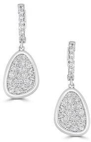 Saks Fifth Avenue Diamond and 14K White Gold Leaf Drop Earrings