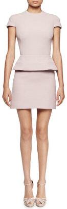 Alexander McQueen Cap-Sleeve Peplum-Waist Dress, Patchouli $1,945 thestylecure.com