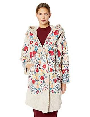 Johnny Was Biya by Women's Faux Fur Hooded Coat with Embroidery