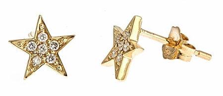 Brian Danielle Yellow Gold Diamond Star Studs