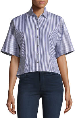 Theory Cropped Button-Down Hartman Striped Shirt