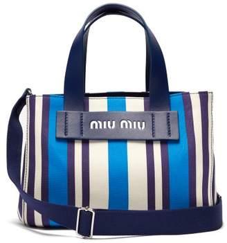 Miu Miu Striped Canvas Beach Bag - Womens - Blue Multi