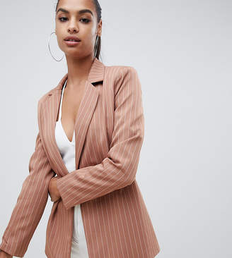 Missguided exclusive pinstripe boyfriend blazer in nude