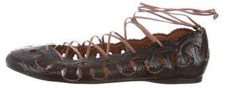 Alaia Laser Cut Lace-Up Flats