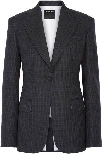 CALVIN KLEIN 205W39NYC - Checked Wool Blazer - Midnight blue