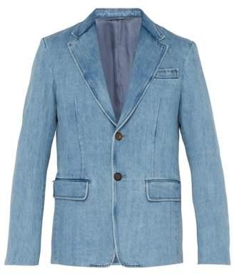Prada Single Breasted Denim Blazer - Mens - Light Blue