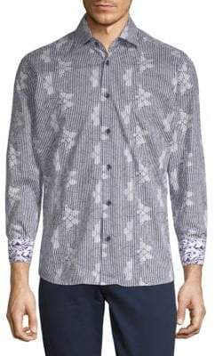 Abstract-Print Cotton Button-Down Shirt