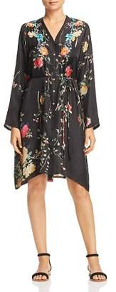 Johnny Was Collection Embroidered Silk Shirt Dress