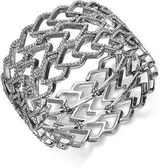INC International Concepts I.n.c. Silver-Tone Pave Heart Wide Stretch Bracelet