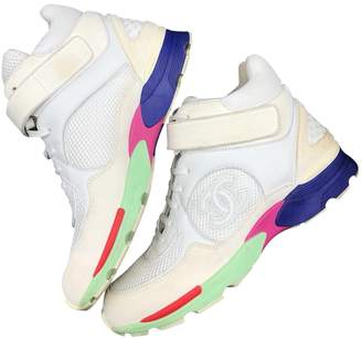 Chanel Ankle Strap Multicolour Suede Trainers
