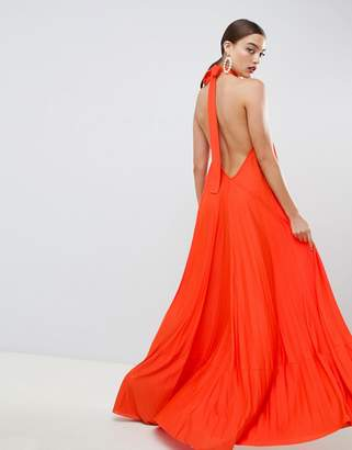 Asos Design DESIGN backless halter pleated maxi dress
