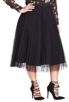 City Chic Plus Nouveau Tulle Satin Midi Skirt