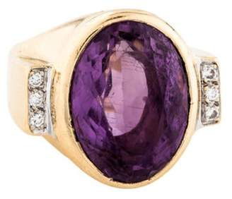 Ring 14K 11.24ct Amethyst & Diamond yellow 14K 11.24ct Amethyst & Diamond