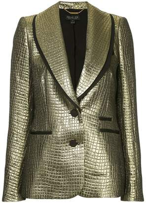 Rachel Zoe crocodile textured metallic blazer