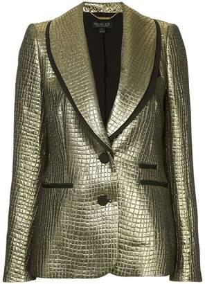Rachel Zoe crocodile textured metallic blazer