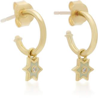 Amrapali 18K Gold and Diamond Mini Star Hoop Earrings