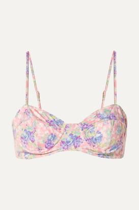 LoveShackFancy Cassandra Floral-print Bikini Top - Pink