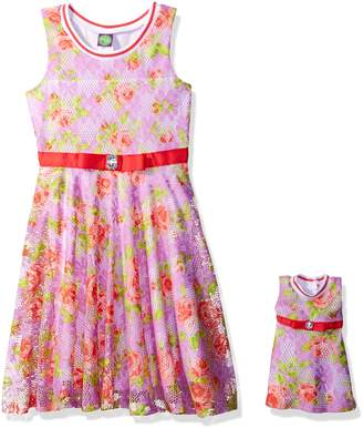 Dollie & Me Big Girls' Sleeveless Floral Lace Dress and Matching Doll Outfit