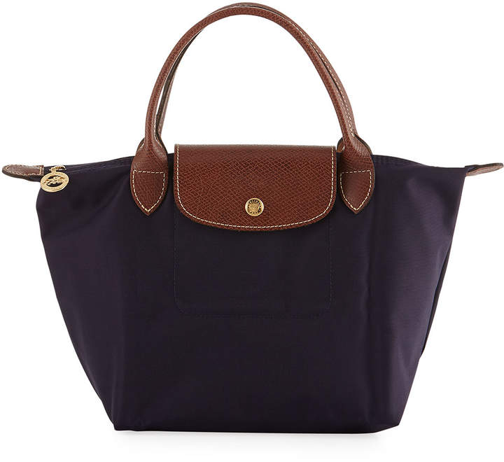 Longchamp Le Pliage Mini Nylon Tote Bag, Navy Blue - PURPLE - STYLE