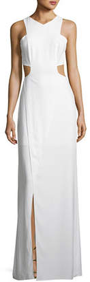 Halston Sleeveless Cutout Stretch Crepe Column Gown