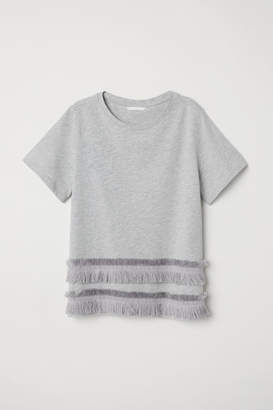 H&M Jersey Top with Fringe - Gray