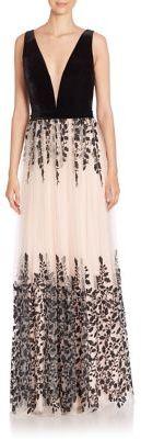 Jovani V-Neck Floral Gown $690 thestylecure.com