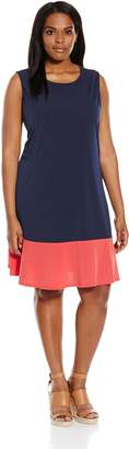 Tiana B Women's Plus Size Sleeveless Color Block Swing Dress, Navy/Coral, 22W