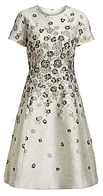 Teri Jon by Rickie Freeman Women's Floral Jacquard A-Line Dress
