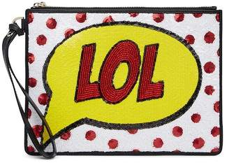 Alice + Olivia Embellished LOL Graphic Leather Wristlet