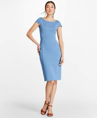 Brooks Brothers Ponte-Knit Cap-Sleeve Sheath Dress