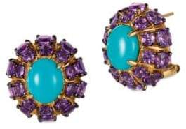 LeVian Grape Amethyst, Robins Egg Turquoise and 14K Honey Gold Stud Earrings