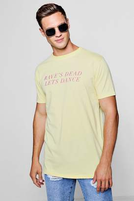 boohoo Skater Fit Raves Dead Slogan T-Shirt