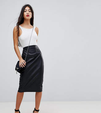 Asos Sculpt Me Leather Look High Waist Pencil Skirt